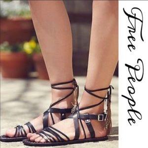 Free people boho leather wrap sandals